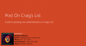 front cover of craig's list posting guide