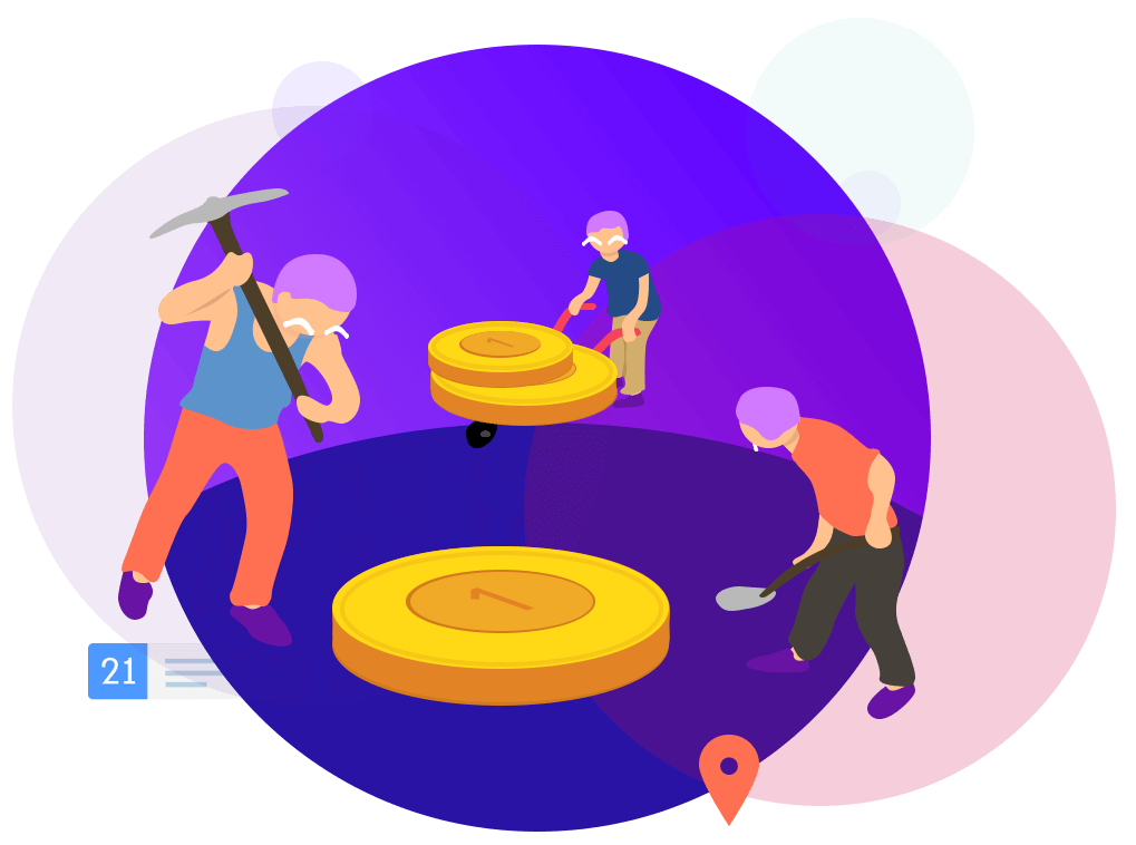 people working in purple ring