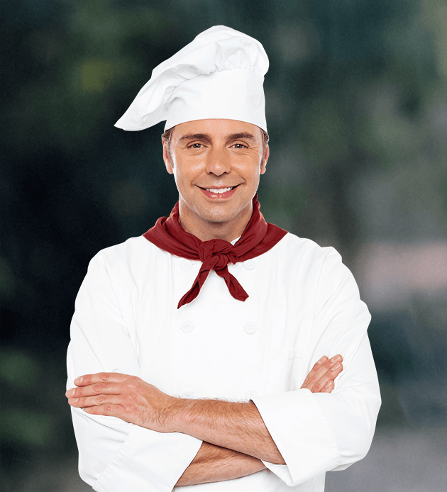 cheif with hat smiling