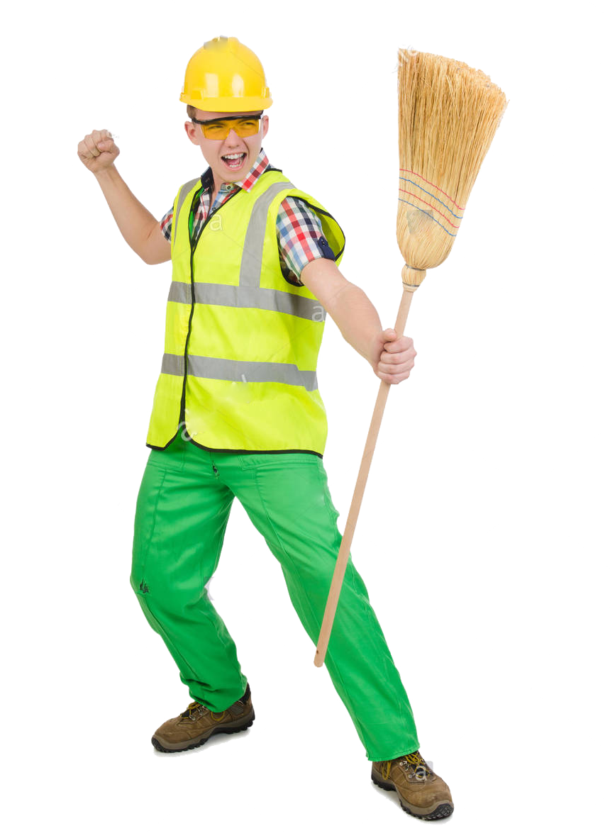 janitor with broom