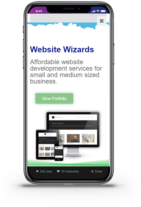 website wizards loaded on mobile phone