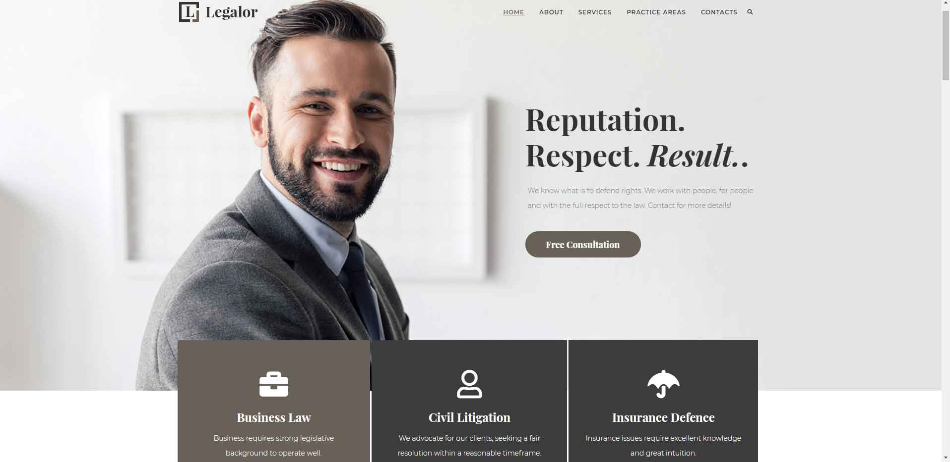 image of attorney website showing a man and call to action text