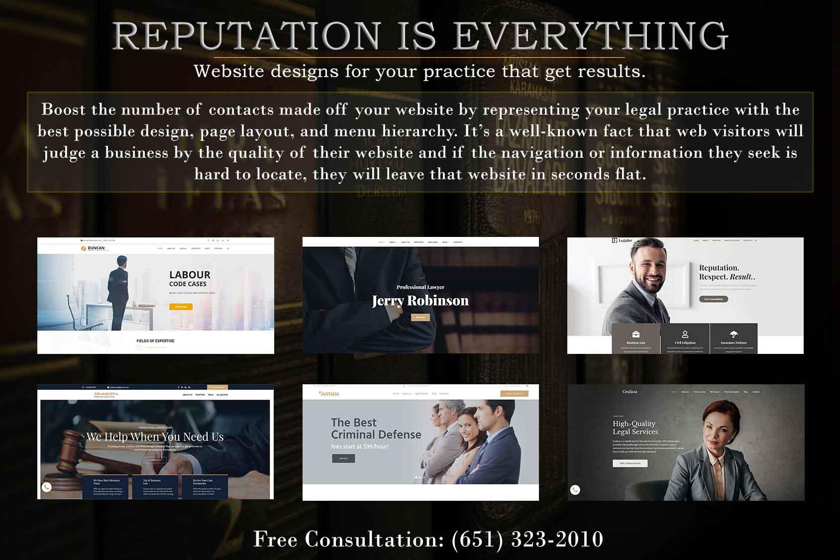 attorney website design banner displaying website designs
